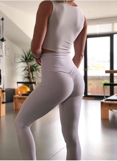 LizzSpor Kadın Beyaz Kalça Tasarımlı Toparlayıcı Tayt Beyaz